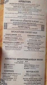 Spice Road Table offers a variety of aperitifs and cocktails