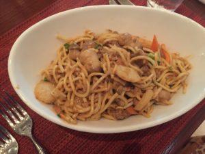 My first Wok dish - beef, veggies, noodles, Thai peanut sauce