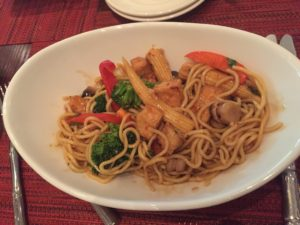 Iris's first wok dish - tofu, veggies, noodles, orange sauce