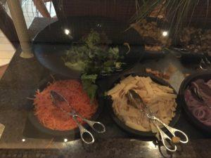 Salad bar, part 1 - lettuce, carrots, croutons, mushrooms, onions,