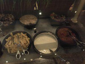 Salad Bar part 2 - mushrooms, baby corn, ginger dressing, ranch dressing, veggie salad, vermicelli salad.