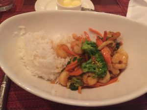 teriyaki shrimp, broccoli, carrots, and cabbage, with white rice